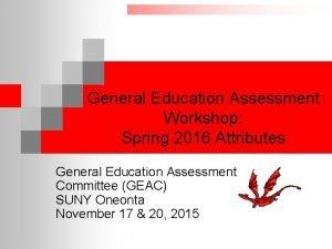General Education Assessment Workshop Spring 2016 Attributes General
