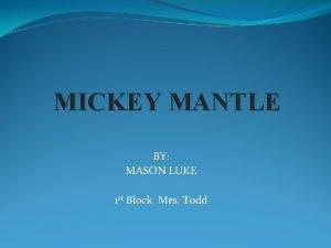 MICKEY MANTLE BY MASON LUKE 1 st Block