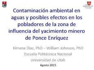 Contaminacin ambiental en aguas y posibles efectos en