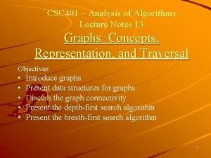CSC 401 Analysis of Algorithms Lecture Notes 13