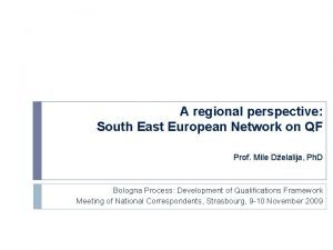 A regional perspective South East European Network on