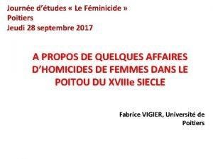 Journe dtudes Le Fminicide Poitiers Jeudi 28 septembre