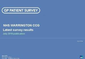 NHS WARRINGTON CCG Latest survey results July 2019
