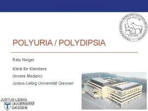 POLYURIA POLYDIPSIA Reto Neiger Klinik fr Kleintiere Innere