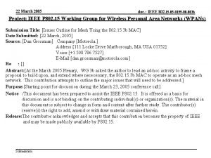 22 March 2005 doc IEEE 802 15 05