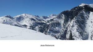 Key Performance Indicators Jean Roberson Key Performance Indicators