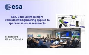 ESA Concurrent Design Concurrent Engineering applied to space