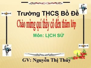 Trng THCS B Mn LCH S GV Nguyn