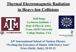 Thermal Electromagnetic Radiation in HeavyIon Collisions Ralf Rapp
