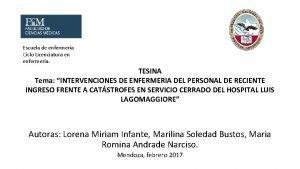 Escuela de enfermera Ciclo Licenciatura en enfermera TESINA