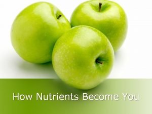 How Nutrients Become You Food Nutrients and Energy