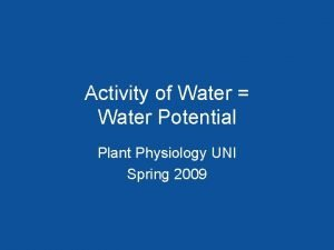 Activity of Water Water Potential Plant Physiology UNI