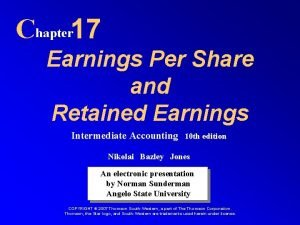 Chapter 17 Earnings Per Share and Retained Earnings