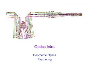 Optics Intro Geometric Optics Raytracing UW ASTR 597