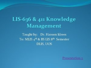 LIS636 411 Knowledge Management Taught by Dr Haroon