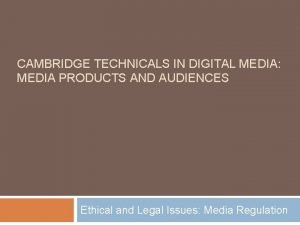 CAMBRIDGE TECHNICALS IN DIGITAL MEDIA MEDIA PRODUCTS AND