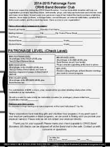 2014 2015 Patronage Form CRHS Band Booster Club