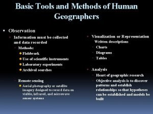 Basic Tools and Methods of Human Geographers Observation