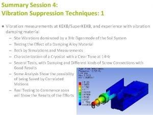 Summary Session 4 Vibration Suppression Techniques 1 Vibration