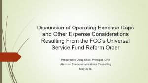 Discussion of Operating Expense Caps and Other Expense