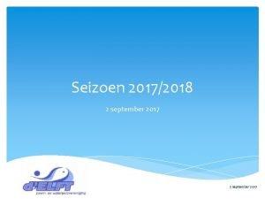 Seizoen 20172018 2 september 2017 Programma Terugblik MiniorenJIO