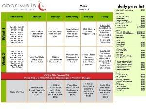 Menu 2017 2018 daily price list Daily Meal