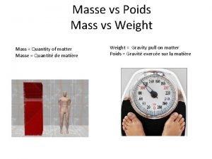 Masse vs Poids Mass vs Weight Mass Quantity
