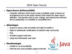 JAVA Open Source SoftwareOSS Computer software which source
