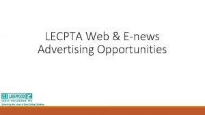 LECPTA Web Enews Advertising Opportunities Web Ads LECPTA