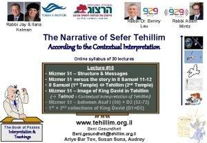 Rabbi Dr Benny Lau Rabbi Jay Ilana Kelman