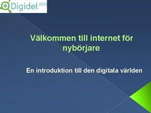Vlkommen till internet fr nybrjare En introduktion till