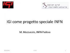 IGI come progetto speciale INFN M Mazzucato INFN
