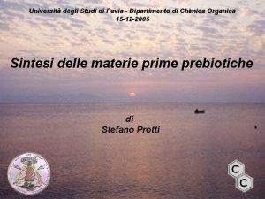 Universit degli Studi di Pavia Dipartimento di Chimica