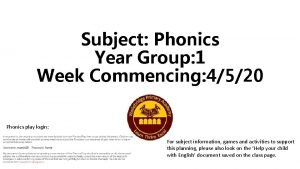 Subject Phonics Year Group 1 Week Commencing 4520