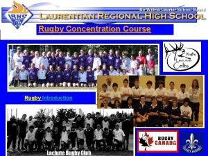 Rugby Concentration Course Rugby Introduction The ECA Rugby