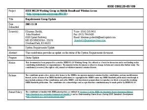 IEEE C 802 20 03109 Project IEEE 802