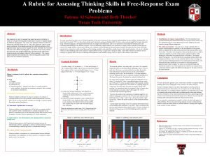 A Rubric for Assessing Thinking Skills in FreeResponse