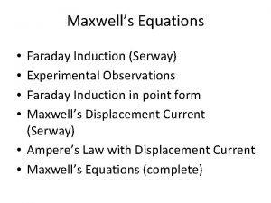 Maxwells Equations Faraday Induction Serway Experimental Observations Faraday