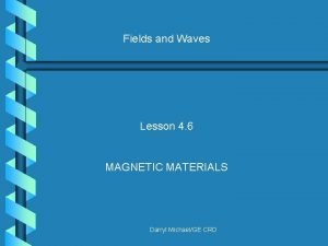 Fields and Waves Lesson 4 6 MAGNETIC MATERIALS