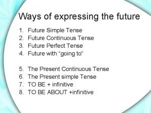 Ways of expressing the future 1 2 3