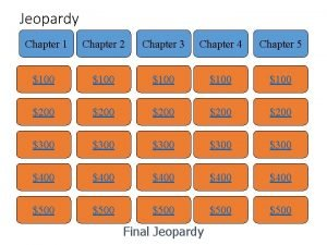 Jeopardy Chapter 1 Chapter 2 Chapter 3 Chapter