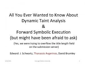 All You Ever Wanted to Know About Dynamic