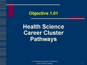 Objective 1 01 Health Science Career Cluster Pathways