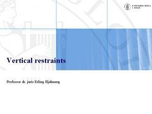 Vertical restraints Professor dr juris Erling Hjelmeng Vertical