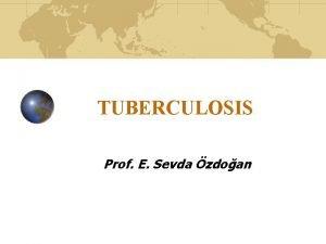 TUBERCULOSIS Prof E Sevda zdoan TUBERCULOSIS Infectious disease