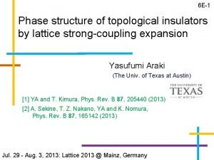 6 E1 Phase structure of topological insulators by