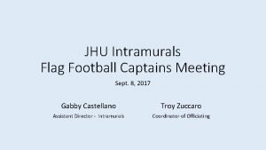 JHU Intramurals Flag Football Captains Meeting Sept 8