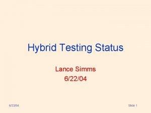 Hybrid Testing Status Lance Simms 62204 Slide 1