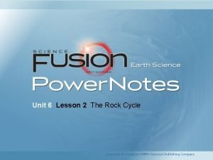 Unit 6 Lesson 2 The Rock Cycle Copyright