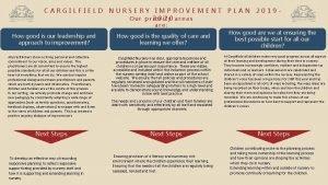 CARGILFIELD NURSERY IMPROVEMENT PLAN 2019 O u r